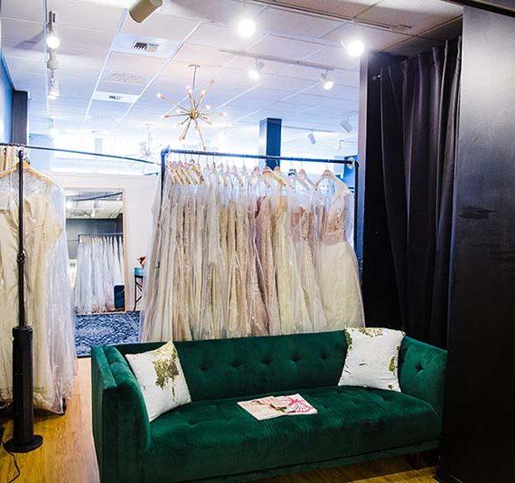 blue sky bridal wedding dress fitting area