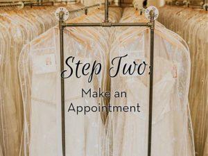 wedding dresses on racks